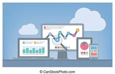 web, und, seo, analytics, begriff