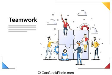web, uso, concetto, eroe, bandiera, banner., arte, isolato, illustrazione, infographics, fondo., vettore, appartamento, lattina, lavoro squadra, linea, images., bianco