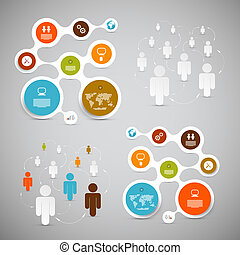 web, vector, opmaak, -, papier, infographic, mal, cirkel