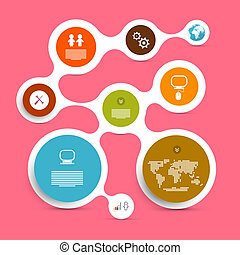 web, vektor, plan, -, papier, infographic, schablone, kreis