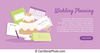 web, vektor, preparations., banner., planung, wedding
