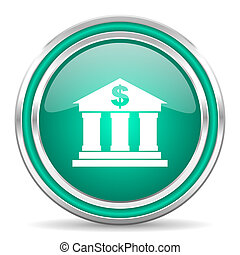 web, verde, lucido, banca, icona