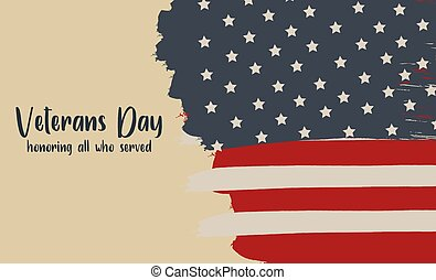 Web Veterans Day holiday banner. Thanks for Serving text. Retro Design