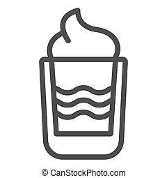 web, vettore, stile, white., eps, isolato, sbarra, urente, illustrazione, disegnato, app., contorno, disegno, cocktail, b52, linea, bevanda, 10., icon.