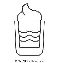 web, vettore, stile, white., eps, magro, isolato, sbarra, urente, illustrazione, disegnato, app., contorno, disegno, cocktail, linea, bevanda, icon., 10., b52