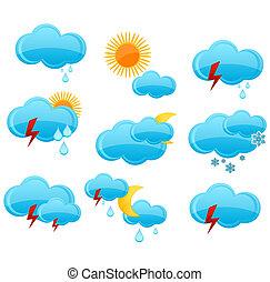 web weather symbols set blue color