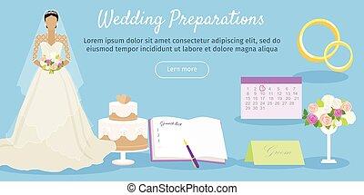 web, wedding, vektor, vorbereitungen, banner.