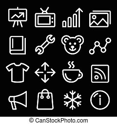 Web white navigation line icons set