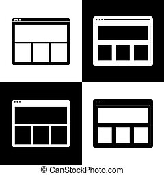 Web window sign. Vector. Black and white icons and line icon on chess board.