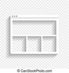Web window sign. Vector. White icon with soft shadow on transparent background.