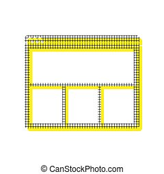 Web window sign. Vector. Yellow icon with square pattern duplica