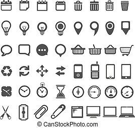 web, witte , vrijstaand, verzameling, iconen