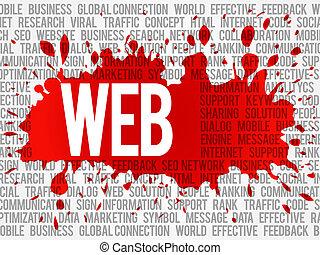 web, woord, wolk