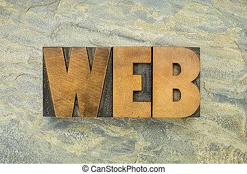 web word in wood type