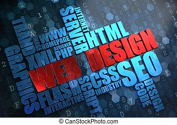 web, wordcloud, concept., design.
