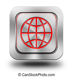 Web world aluminum glossy icon, button, sign