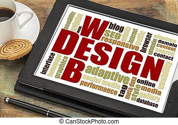 web, wort, design, wolke