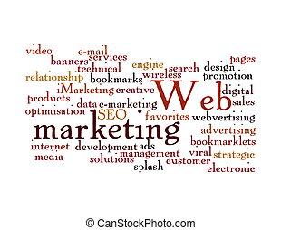 web, wort, freigestellt, wolke, marketing
