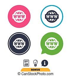 web, www, breit, symbol., zeichen, welt, icon.