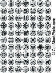 web, zilver, iconen