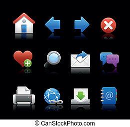 //, web, zwarte achtergrond, iconen