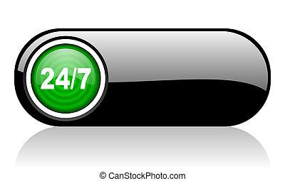 web, zwarte achtergrond, pictogram, groene, 24/7, witte