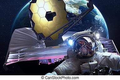 webb, telescope., elementy, przestrzeń, to, jakub, wizerunek, dostarczony, nasa