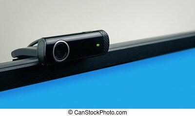 webcam, écran, informatique, coup, en mouvement