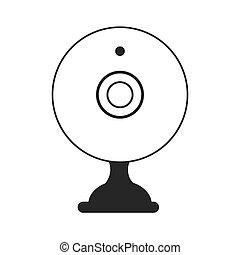 webcam, イラスト, 装置, ベクトル, チャット, アイコン, アイコン