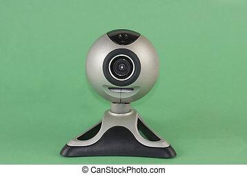 Webcam - A silver webcam set against a green background
