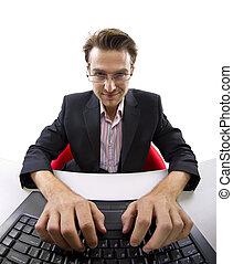 webcam, ansicht, von, mann, arbeitende