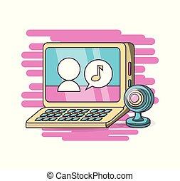 webcam, computer, ontwerp, kletsende