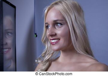 webcam, femme