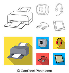 Webcam, headphones, USB cable, processor. Personal computer set collection icons in outline, flat style bitmap symbol stock illustration web.