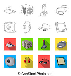 Webcam, headphones, USB cable, processor. Personal computer set collection icons in outline, flet style bitmap symbol stock illustration web.