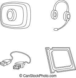 Webcam, headphones, USB cable, processor. Personal computer...