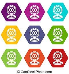 Webcam icon set color hexahedron