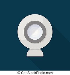 Webcam icon | Set of great flat icons with style long shadow icon and use for network, communication, internet and much more.