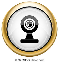 Webcam icon - Shiny glossy icon with black design on white...