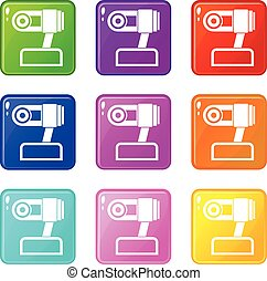 Webcam icons 9 set - Webcam icons of 9 color set isolated...