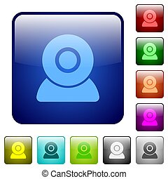 Webcam icons color square buttons