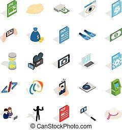 Webcam icons set, isometric style