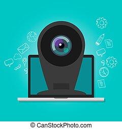 webcam, laptop, linea, macchina fotografica sorveglianza, sicurezza internet
