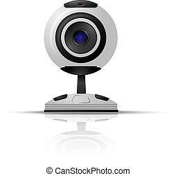 webcam, na, niejaki, białe tło