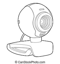 Webcam - outline webcam on white background (vector...