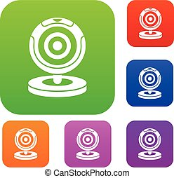 Webcam set collection - Webcam set icon in different colors...