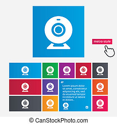 Webcam sign icon. Web video chat symbol. Camera chat. Metro...