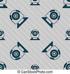 Webcam sign icon. Web video chat symbol. Camera chat. Seamless pattern with geometric texture. Vector