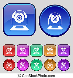 Webcam sign icon. Web video chat symbol. Camera chat. Set of colored buttons.