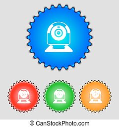 Webcam sign icon. Web video chat symbol. Camera chat. Set of colored buttons. Vector
